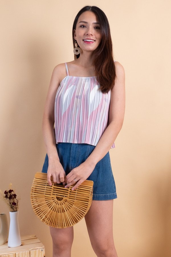 Lana Pleated Spag Top in Pink Abstract