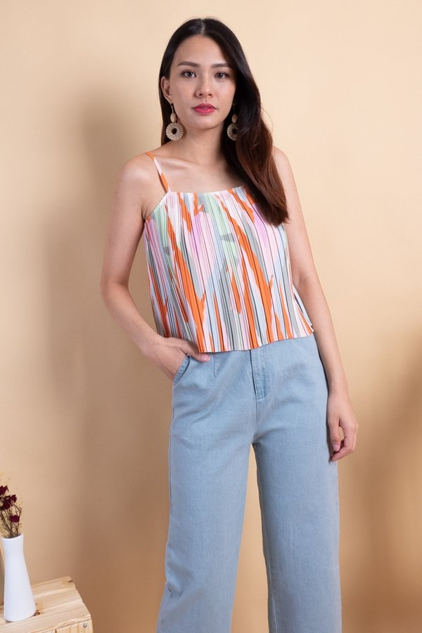 Lana Pleated Spag Top in Orange Abstract