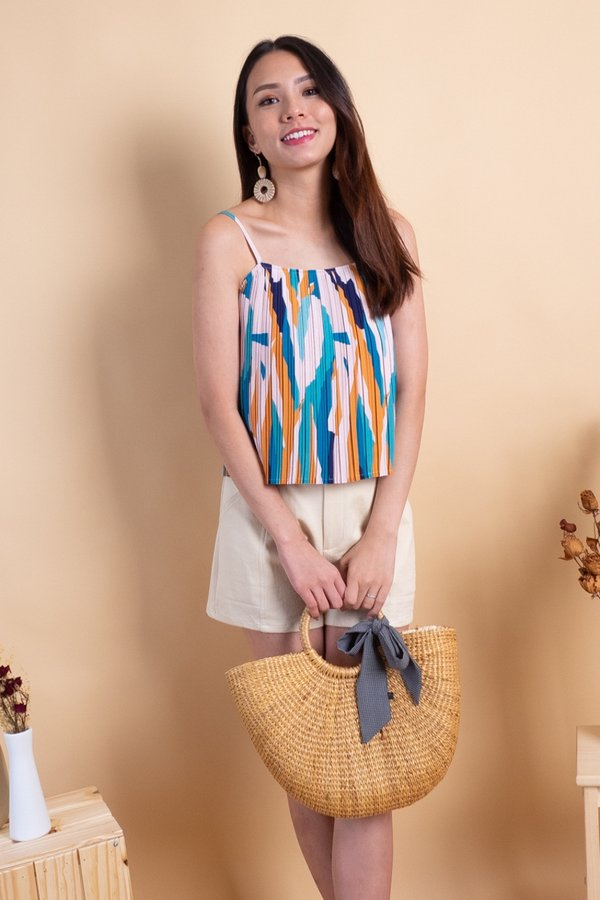 Lana Pleated Spag Top in Blue Abstract