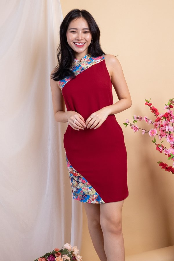 Man Yue Removable Collar Cheongsam Shift Dress in Wine Red