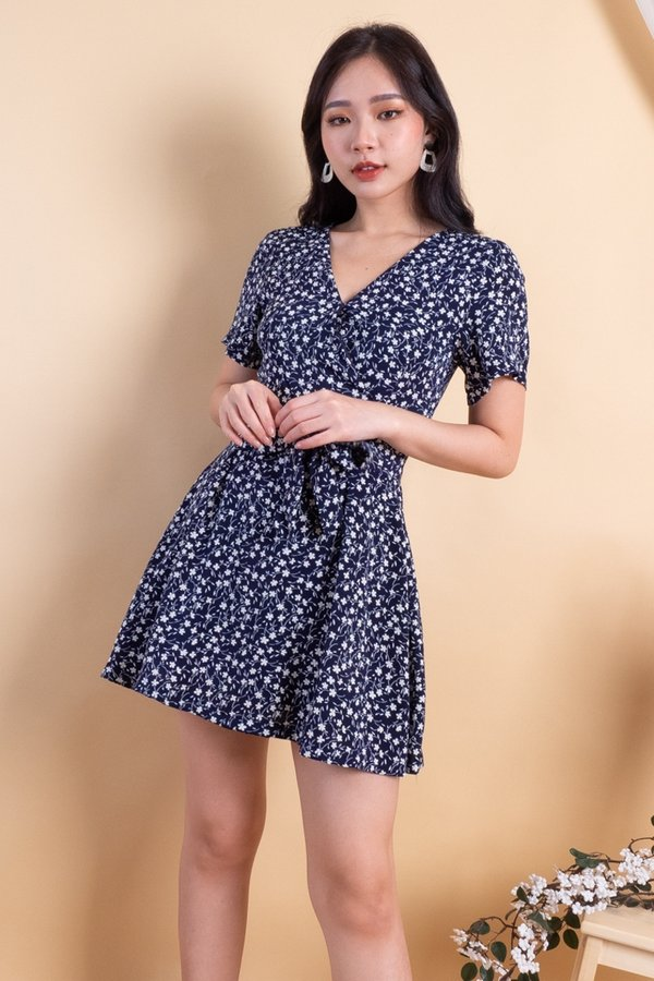 MADEBY3INUTE Carmel Romper Dress in Navy Florals