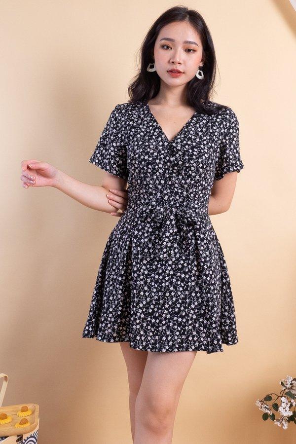 MADEBY3INUTE Carmel Romper Dress in Black Florals