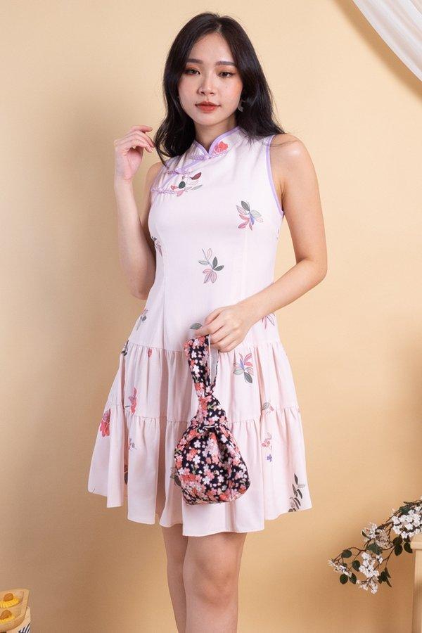 Kayna Tier Skater Cheongsam Dress in Pink Florals