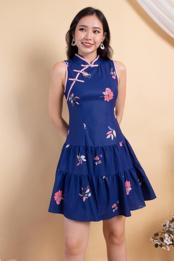 Kayna Tier Skater Cheongsam Dress in Navy Florals