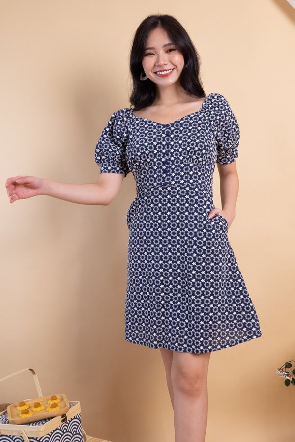 Julia Embroidered 2-Way Skater Dress in Navy