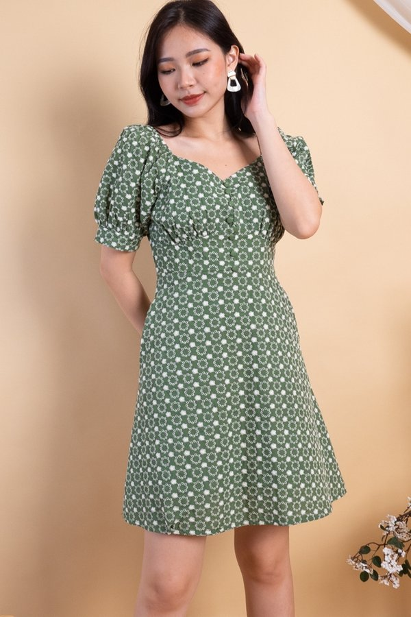 Julia Embroidered 2-Way Skater Dress in Green