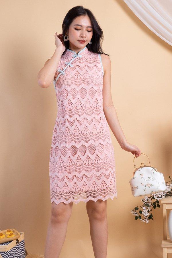 Yan Oriental Crochet Cheongsam Dress in Pink [L]