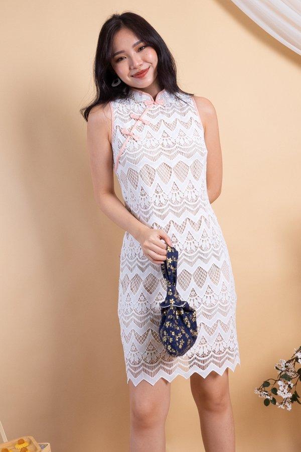 Yan Oriental Crochet Cheongsam Dress in White