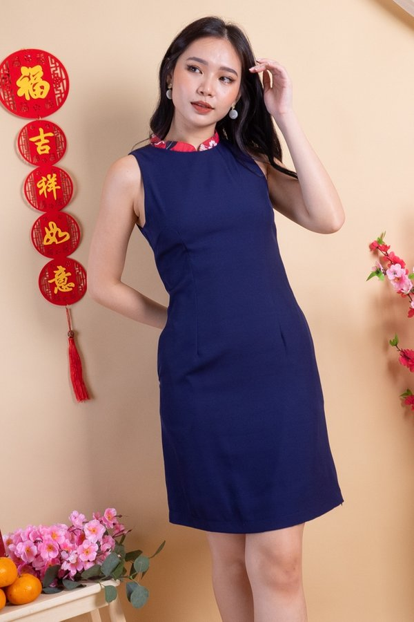 Dunya Removable Collar Side Pleat Dress in Navy/Red Florals [XS]