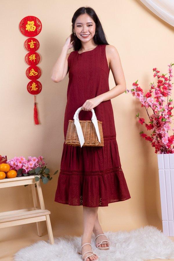Razelle Eyelet Drop Waist Dress in Wine Red
