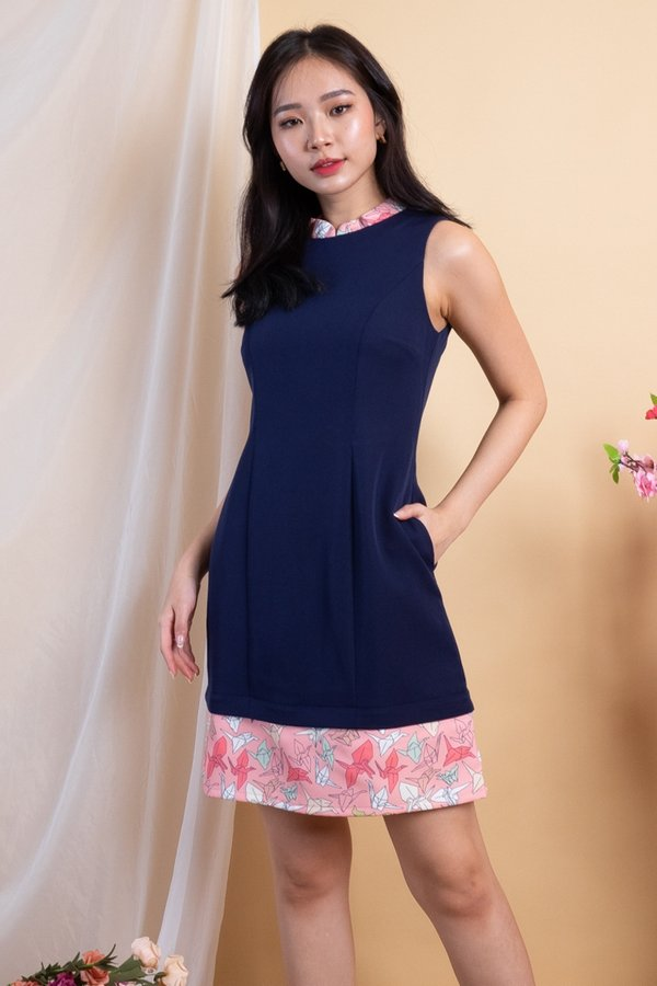 Paper Cranes Removable Collar Romper Dress in Navy [S]