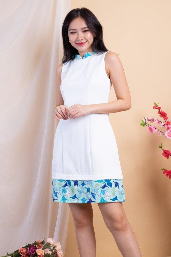 Paper Cranes Removable Collar Romper Dress in White