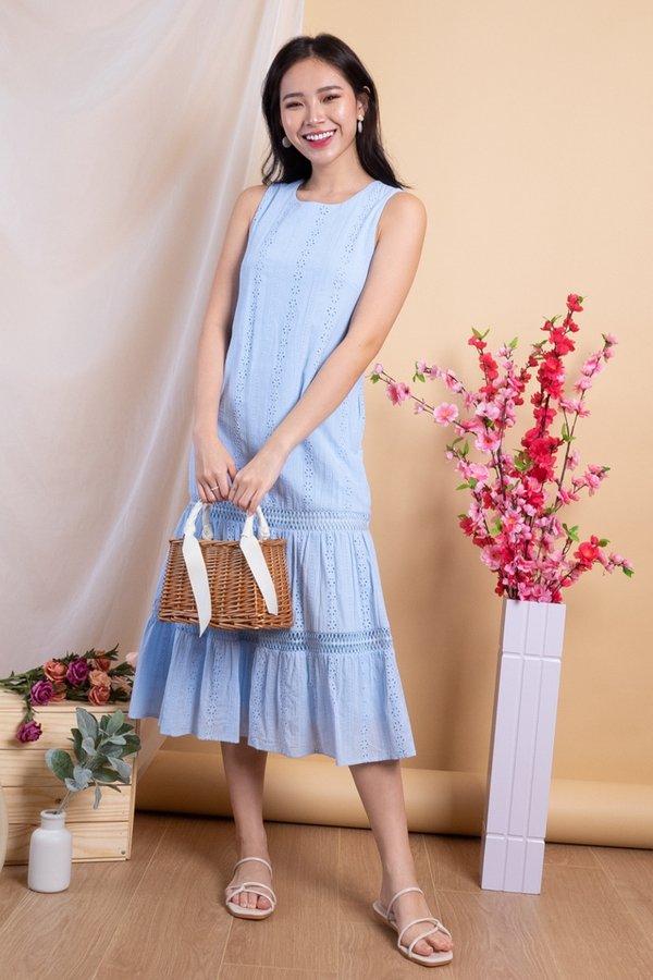 Razelle Eyelet Drop Waist Dress in Powder Blue
