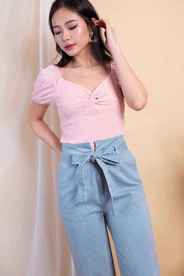 EXCLUSIVE - Aimi Twist Knot 2-Way Ribbed Top in Pink