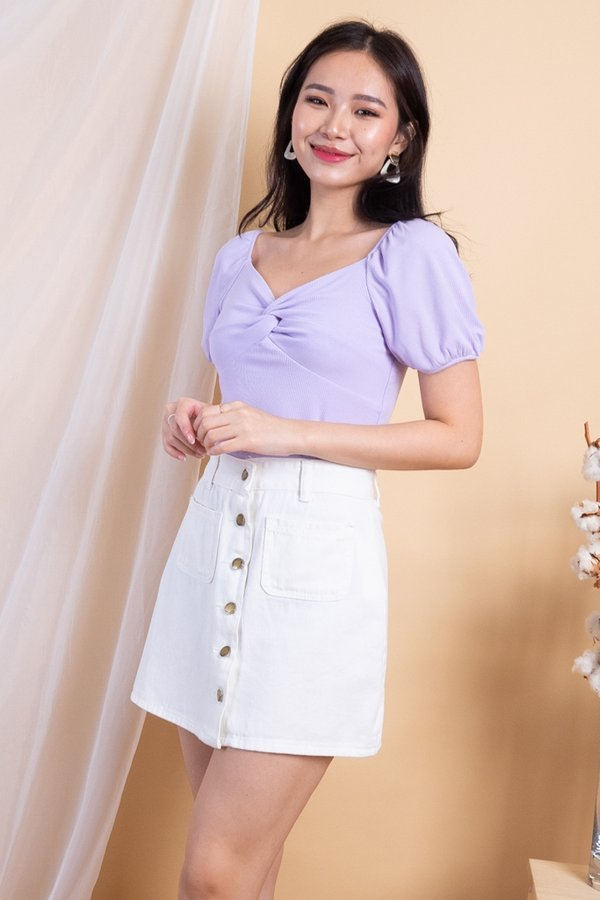 EXCLUSIVE - Aimi Twist Knot 2-Way Ribbed Top in Lilac