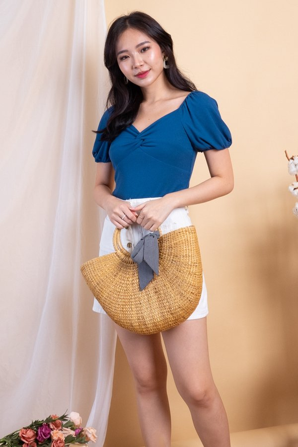 EXCLUSIVE - Aimi Twist Knot 2-Way Ribbed Top in Teal Blue