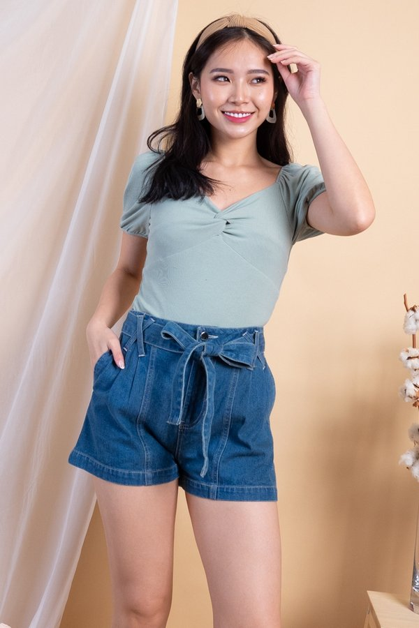 EXCLUSIVE - Aimi Twist Knot 2-Way Ribbed Top in Sage