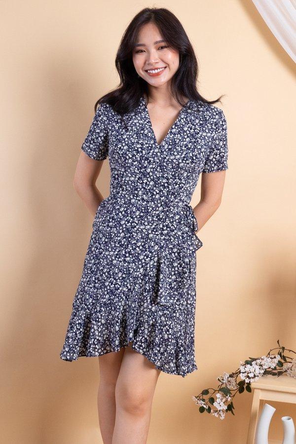 Machelle Ruffles Wrap Dress in Navy Florals [S/M]
