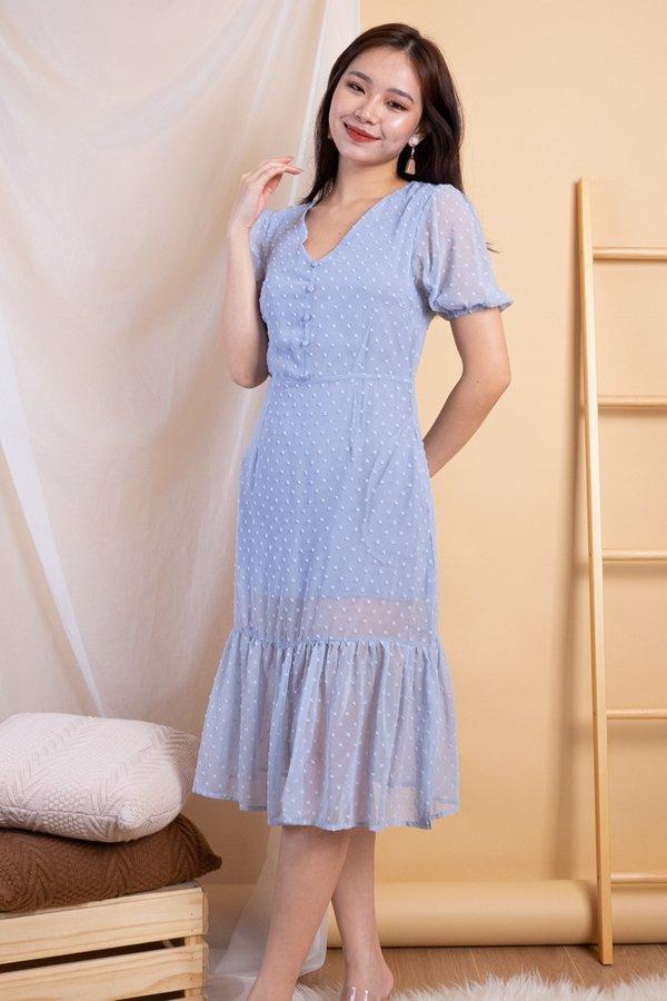 Tavie Swiss Dot Dropwaist Hem Dress in Powder Blue