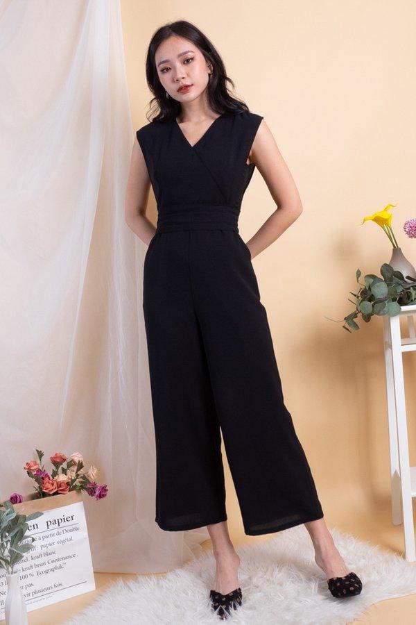 Elfie Basic V Neck Jumpsuit in Black