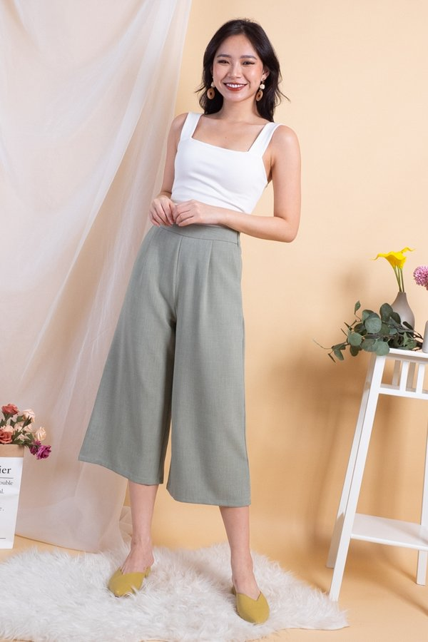 Piper Basic Culottes Pants in Sage [M]