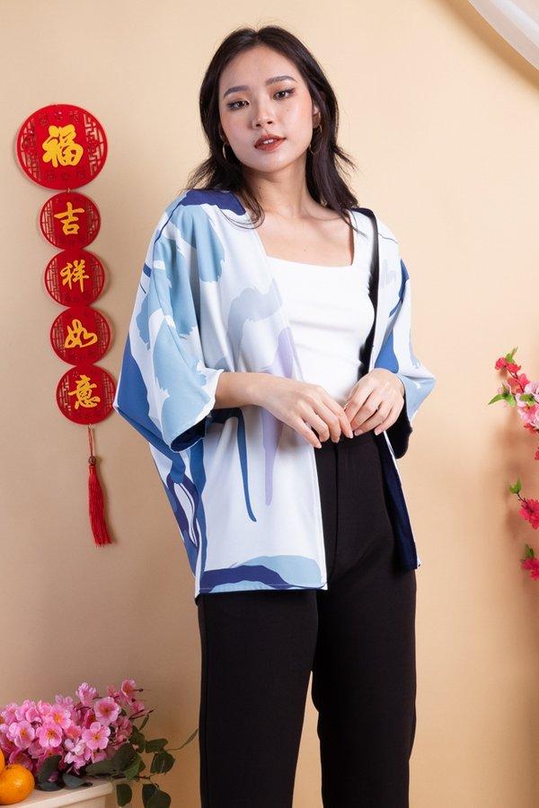 Fika Reversible Kimono Outerwear in Blue Hues/Navy
