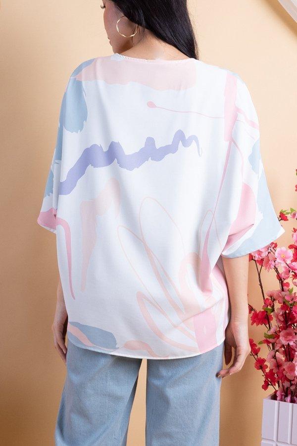 Fika Reversible Kimono Outerwear in Macaron Pastel/Sage