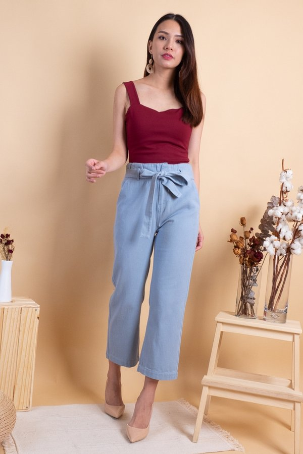 Aden Paperbag Denim Jeans in Light Wash