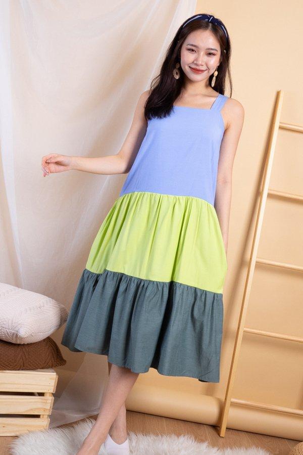 Jalone Colourblock Tier Dress in Blue