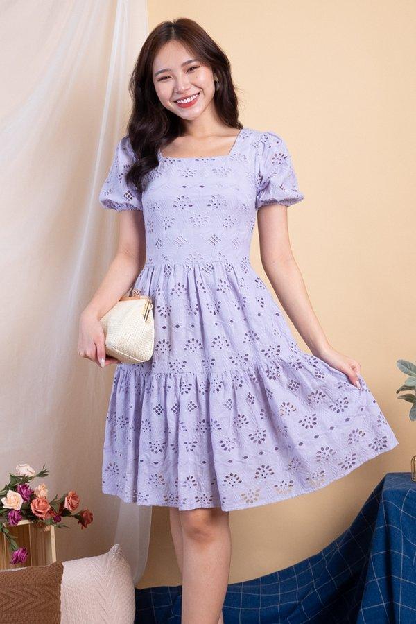 Haeyon Square Neck Babydoll Eyelet Dress in Lilac