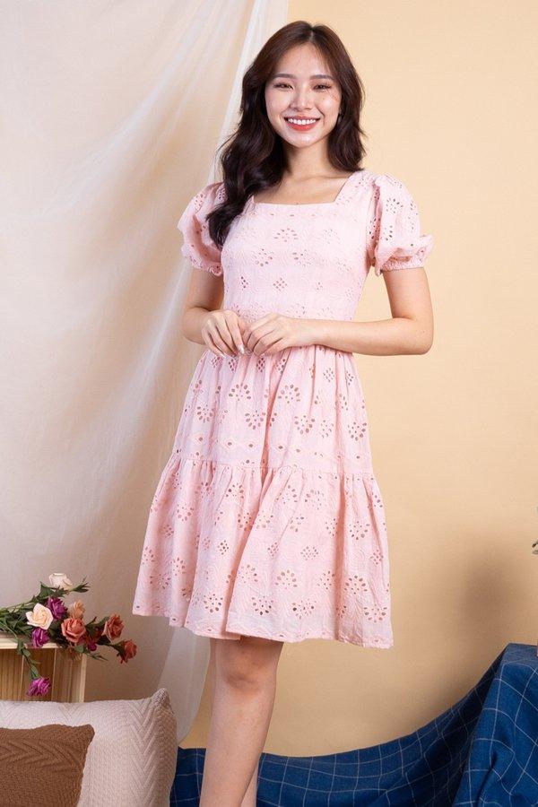 Haeyon Square Neck Babydoll Eyelet Dress in Pink
