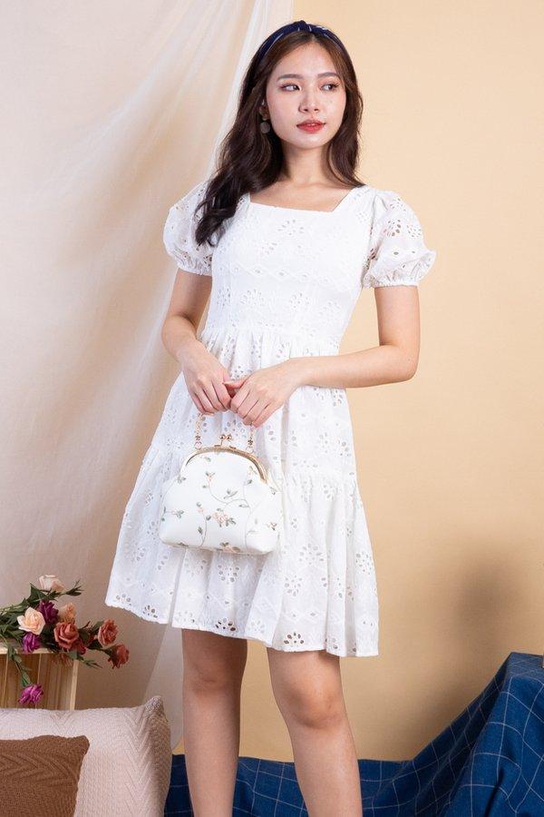 Haeyon Square Neck Babydoll Eyelet Dress in White