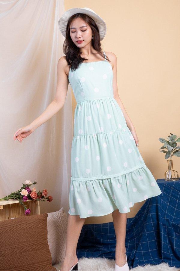 Shalee Polka Dot Convertible Dress in Mint Polka