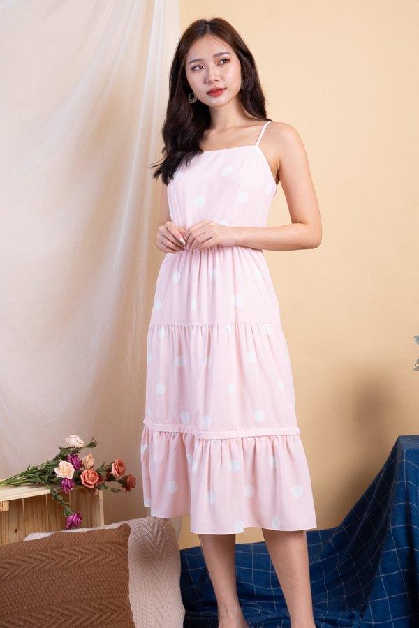 Shalee Polka Dot Convertible Dress in Pink Polka