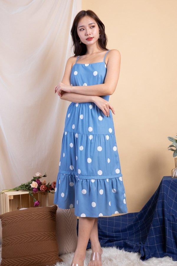 Shalee Polka Dot Convertible Dress in Blue Polka