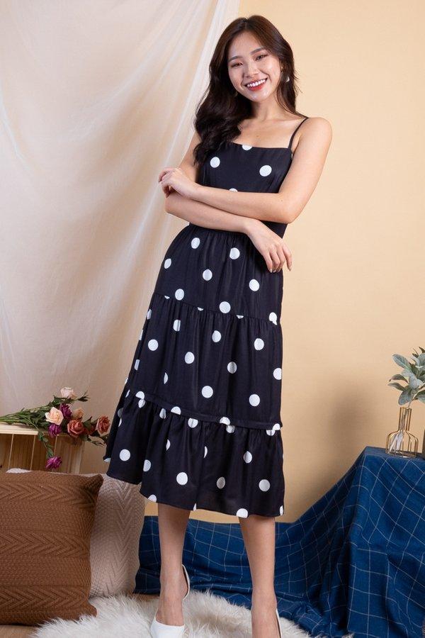 Shalee Polka Dot Convertible Dress in Black Polka