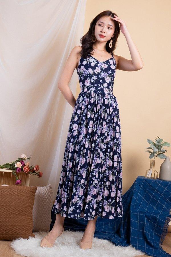 Maheera Pleated Maxi Dress in Navy Florals