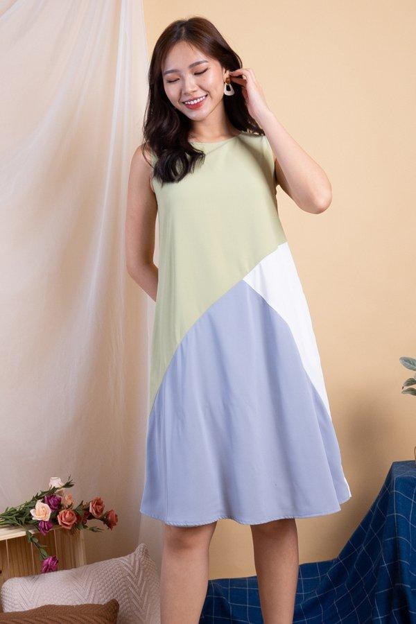 Tashia Abstract Reversible Dress in Sage Grey