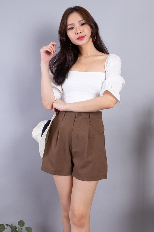 Dustin Button Shorts in Chocolate [XS/XL]