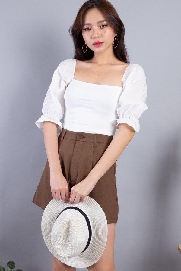 Leala Basic Puffed Sleeved Top in White