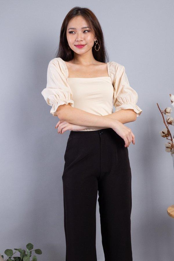 Leala Basic Puffed Sleeved Top in Cream [L]