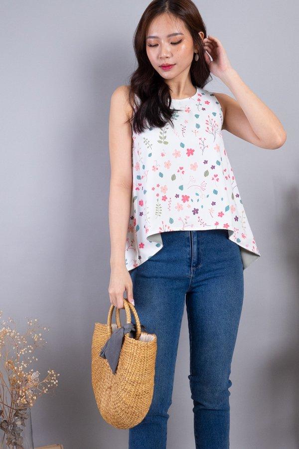 Yura Reversible Hi-Lo Top in White Florals/Sage
