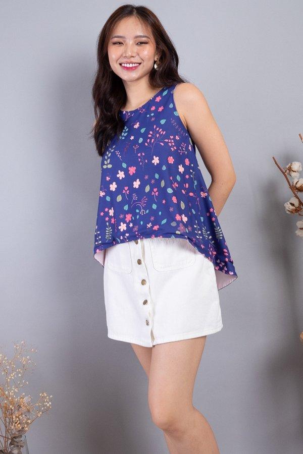 Yura Reversible Hi-Lo Top in Navy Florals/Dust Pink