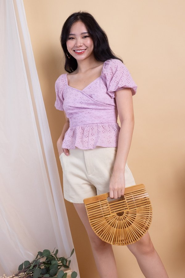 Tania 2 Way Wrap Eyelet Top in Dust Pink