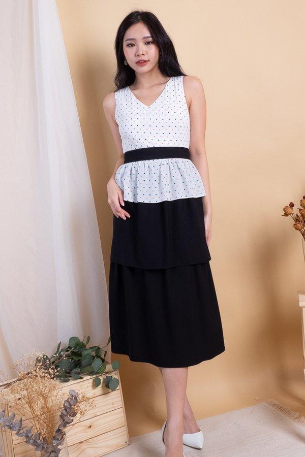 Mio Peplum Tier Convertible Top/Dress in White Polka