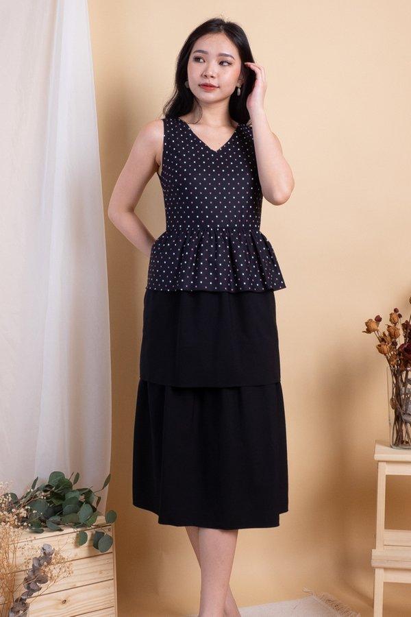 Mio Peplum Tier Convertible Top/Dress in Black Polka