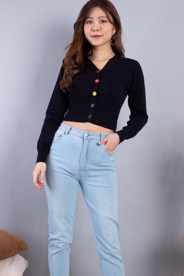 Dawne Rainbow Buttons Knit Cardigan in Black