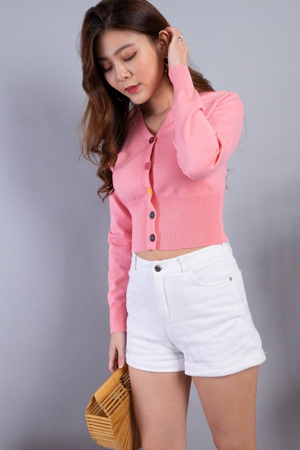 Dawne Rainbow Buttons Knit Cardigan in Pink