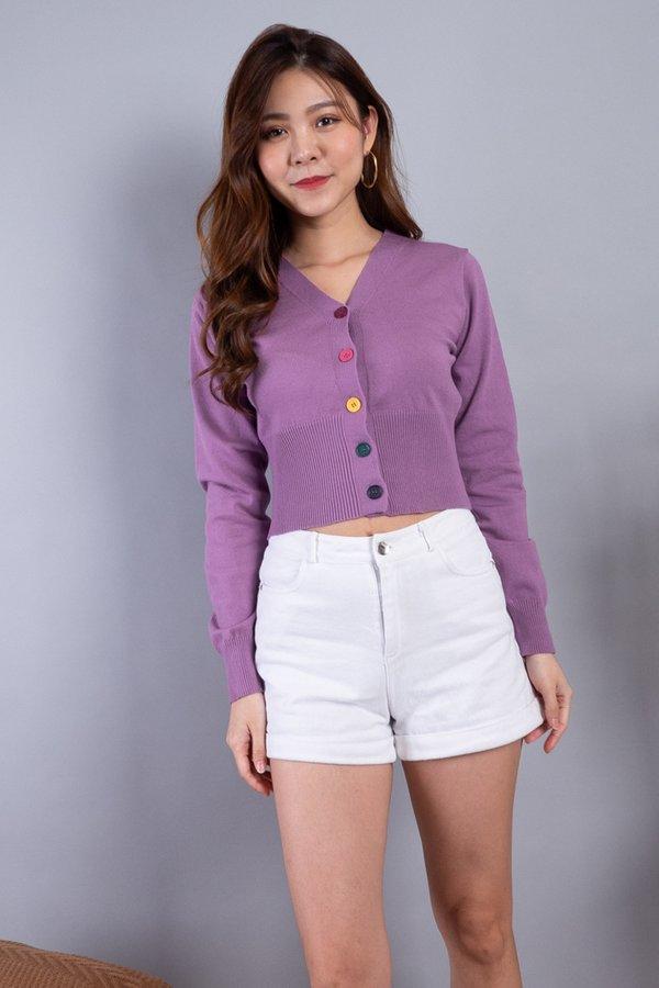 Dawne Rainbow Buttons Knit Cardigan in Purple
