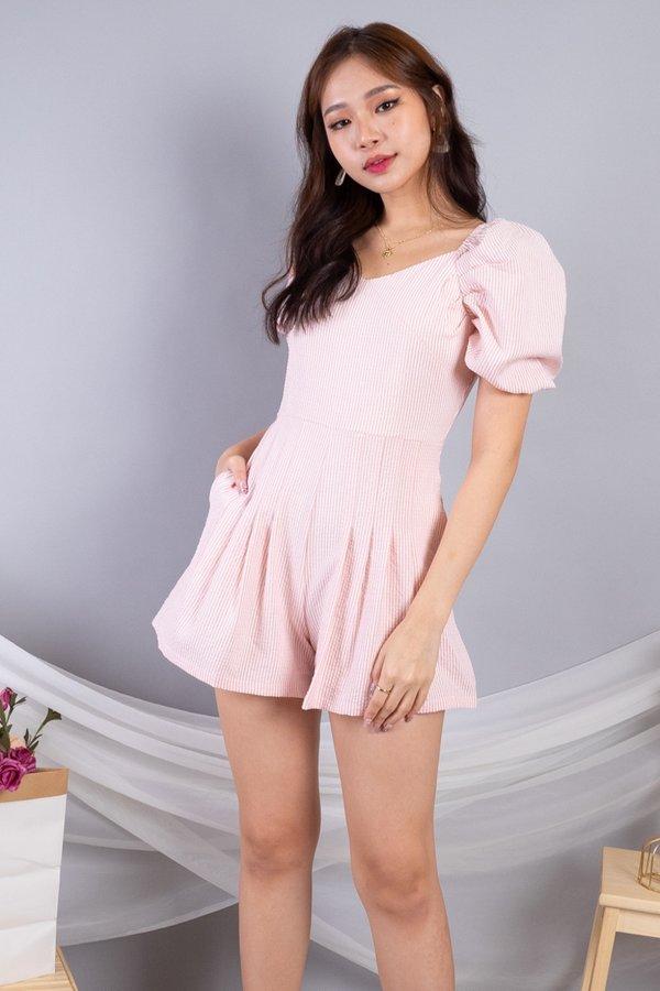 Lauren 2 Way Puff Sleeved Romper in Pink Pinstripes